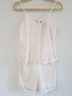 1c5f7c914fc NWT Mossimo Supply Co Romper Rose Womens Size xs Sleeveless Lace crochet  Ivory  fashion