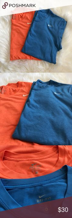 Nike Dri-Fit bundle Two Nike Dri-Fit Tshirts, used but great condition. Polyester shirts in orange/blue. Nike Tops Tees - Short Sleeve