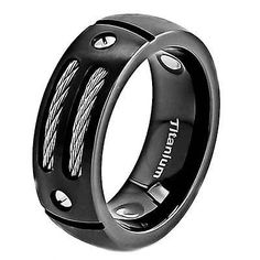 8mm Satin Titanium Ring Black Men's Wedding Band in Jewelry & Watches, Men's Jewelry, Rings | eBay