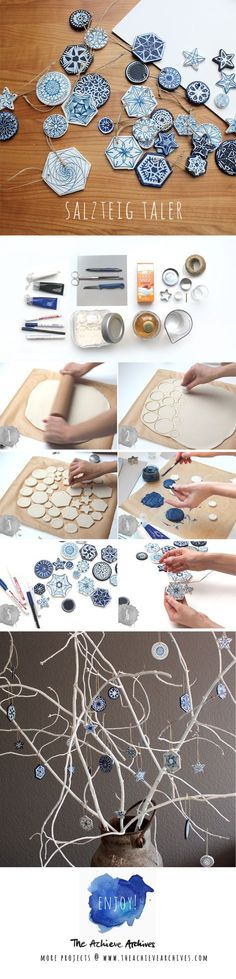 Best Free salt clay ornaments Style How To Do Salt Dough Decoration with Bluepainting Diy Clay, Clay Crafts, Diy And Crafts, Polymer Clay Ornaments, Dough Ornaments, Diy Ornaments, Homemade Ornaments, Painted Ornaments, Salt Dough Decorations