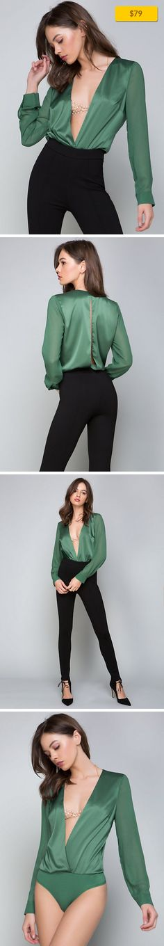 """Deep V Bodysuit NEW, ALL NEW ARRIVALS SMOKE PINE   Super-sexy bodysuit in a glossy charmeuse. Plunge front mirrored by back nape-to-waist slit. Long button-cuff sleeves in tonal sheer chiffon. Back neck button-loop closure. Thong style with snap closures. Partially lined. 96% Polyester, 4% spandex Machine wash Imported Shoulder to crotch: 28.5"""" (72.5 cm) Model is 5'8.5"""" and wears a US size S"""