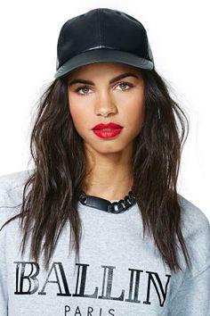 Cheap Monday Paper Cap #tomboystyle #tomboy #womeninbaseballhats #snapbacksandfitteds #leather #ballin #redlips