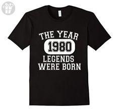 Men's 37th Birthday 1980 The Year Legends Were Born T-Shirt  XL Black - Birthday shirts (*Amazon Partner-Link)