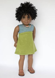 American Girl doll sized tri-city knit dress blue and green