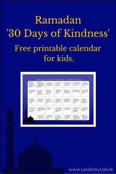 A free printable calendar with 30 acts of kindness which kids can do during the month of Ramadan. Eid Crafts, Ramadan Crafts, Ramadan Decorations, Free Printable Calendar, Kids Calendar, Free Printables, Srinagar, Ramadan Activities, Activities For Kids