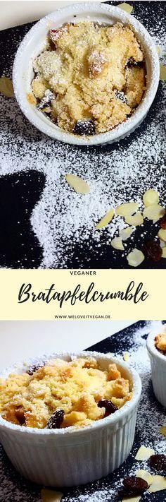 Bratapfel-Crumble (vegan), ein leckerer Nachtisch - nicht nur zu Weihnachten.