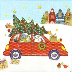 4 Single Table Party Paper Napkins for Decoupage Decopatch Craft  Santa with Car