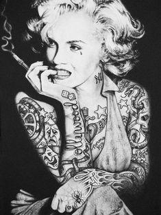 marilyn monroe Sugar Skull Tattoos For Women | 2011 Tagged Marilyn Monroe Tattoos Tatted Black And White Smoke