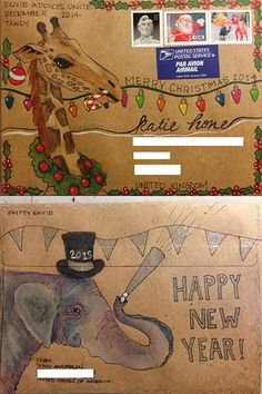 Christmas & New Year mail art envelopes Mail Art Envelopes, Mailing Envelopes, Art Postal, Christmas Envelopes, Decorated Envelopes, Fun Mail, Poster Art, Diy Envelope, Art Challenge