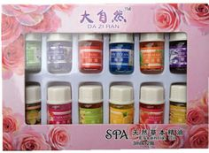 12bottles/box Natural Spa Essential Oil for Aromatherapy 100% pure essential oils 12 kinds of Perfume Fragrance 3ml/bottle Oil
