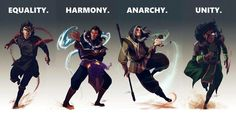Legend of Korra: Amon, Unalaq, Zaheer, Kuvira.