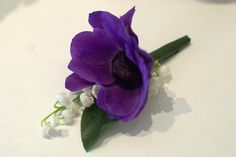 purple-blue anemone boutonniere with lily of valley @gpflowers