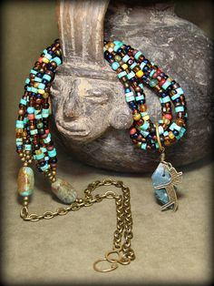 Turquoise Necklace  Seed Bead Necklace  Native by StoneWearDesigns, $63.00