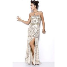 Shail K 3732 Evening Dress Long Strapless Sleeveless ($418) ❤ liked on Polyvore featuring dresses, formal dresses, gold, white gold dress, long formal dresses, sequin prom dresses, sparkly prom dresses and white dress