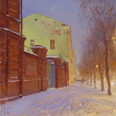 """Снегопад на улице Советской"" picture art artist painter Коробков Денис"