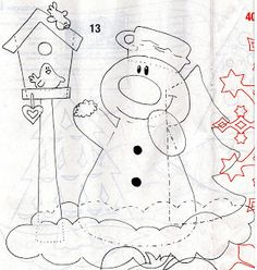 Winterdekoration Fenster - New Ideas Sewing Appliques, Applique Patterns, Craft Patterns, Snow Crafts, Diy And Crafts, Paper Crafts, Crafts For Kids, Christmas Snowman, Kids Christmas