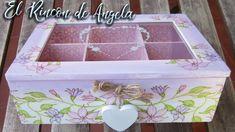 Caja de té decorada con decoupage estilo romantico-Diy manualidades Decoupage Tutorial, Decoupage Box, Tea Box, Diy Wood Projects, Birthday Cards, Diy And Crafts, Decorative Boxes, Scrap, Painting