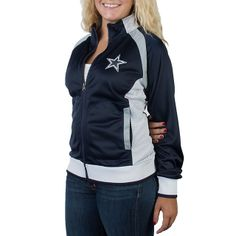 NFL Dallas Cowboys Womens Navy Track Jacket at shop.dallascowboys.com. Dallas Cowboys Outfits, Dallas Cowboys Women, Football Outfits, Cowboys And Indians, Cheer Stuff, Football Gear, Navy Women, Cool Shirts, Super Bowl
