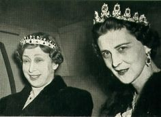 Princess Mary, Princess Royal and Countess of Harewood (1897-1965) wears the Victorian Sapphire Coronet Tiara. Her sister-in-law, Princess Marina, Duchess of Kent (1906-1968), wears the original Cambridge Sapphire Tiara.