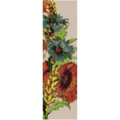 Flowers 3 Peyote Bead Pattern, Bracelet Cuff, Bookmark, Seed Beading Pattern Miyuki Delica Size 11 Beads - PDF Instant Download by SmartArtsSupply on Etsy
