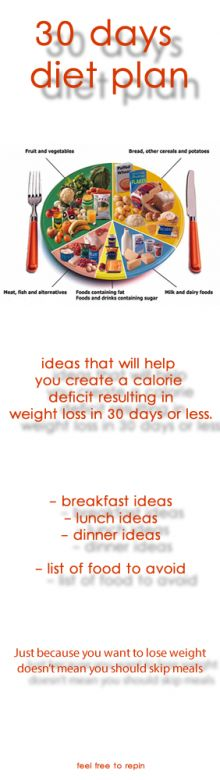Ideas that will help you create a calorie deficit resulting in weight loss in 30 days or less. Just because you wanto to lose weight doesn't mean you should skip meals.