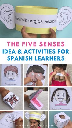Learning about los 5 sentidos in Spanish? Here are fun activities, games, songs, and printables for kids learning Spanish! Senses Preschool, Body Preschool, Preschool Spanish, Senses Activities, Learning Spanish For Kids, Spanish Activities, Spanish Language Learning, Vocabulary Activities, Teaching Spanish