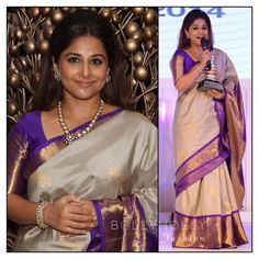 Vidya Balan in Elegant Ivory, Purple, and Gold Gaurang Shah Saree Dress Design Patterns, Designer Blouse Patterns, Beautiful Blouses, Beautiful Saree, Indian Dresses, Indian Outfits, Vidya Balan, Elegant Saree, Traditional Sarees