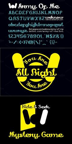 army of me is a font created by weknow Design. For commercial usage of this font the purchase of this license is required. Fancy Fonts, Cool Fonts, New Fonts, Army, Author, Display, How To Make, Design, Gi Joe