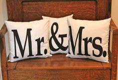 mr. and mrs. pillows. any fonts and any fabrics. completely custom made.
