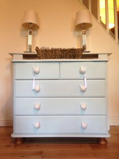 Pine chest reworked in a pale mix of Annie Sloan duck egg and old white