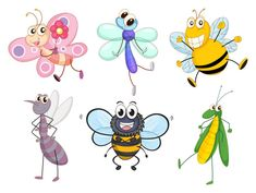 Funny Cartoon Insects vector set 09 | Animal vectors