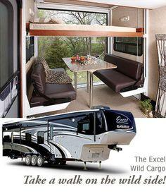 Excel Wild Cargo -Take a ride on the wild side! 5th Wheel Toy Hauler, Fifth Wheel Campers, 5th Wheels, Travel Trailers, Rv, Luxury, People, Houses, Camper Trailers