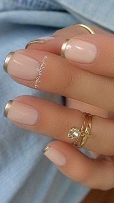 Pink and Gold French Manicure Design #ManicureDIY