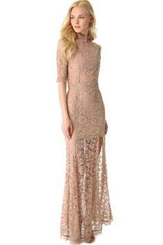Nude Pink High Slit V Back Lace over Maxi Dress