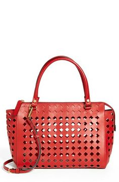 33396a9766 Marni Diamond Perforated Leather Crossbody Satchel