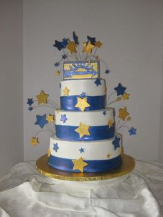 Cake for son's Blue & Gold cub scout banquet.  Redesigned from a fleur de lis that I posted earlier, which showed too many flaws.  Fondant & lustre dust ribbon, BC cake, gumpaste & lustre dust Arrow of Light and stars.