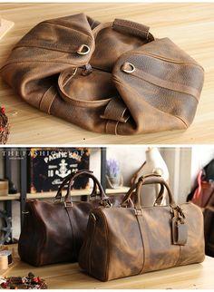 537154d06f Vintage Leather Mens Large Weekender Bags Cool Travel Bag Duffle Bag f Weekender  Bags