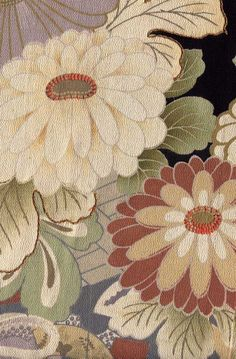 TAISHO ERA MONTSUKI WITH PINE BOUGHS, CHRYSANTHEMUMS AND WATER WITH PAULOWNIA MON
