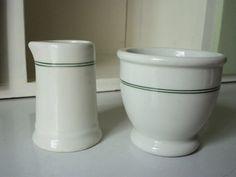 Restaurant Ware- Creamer & Open Sugar, Green and White, Mayer China,1940s