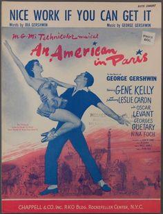 NICE WORK Gershwin AMERICAN IN PARIS Gene Kelly 1951 LESLIE CARON Sheet Music