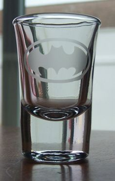 Batman Logo Etched Shot Glass by DJsDecals on Etsy