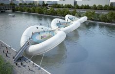 Paris architecture firm AZC has come up with a crazy way to cross the Seine River -- huge inflatable trampolines.