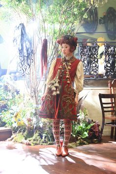 Miwako at Grimoire's 5th anniversary party - beautiful antique steppe coat