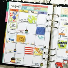 Taylored Expressions - Clearly Planned August 2016 Monthly by Sparkle Smith #planner #calendar #schedule #stamping #diecutting #layout #design #colorful #planning #journal #organize #organization #priorities #month #week #day #customize