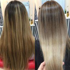 De un ombré dorado a un rubio platinado. | 18 Transformaciones de cabello que te harán querer cambiar de look