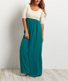 Loving this Forest Green Chiffon Color Block Maxi Dress on #zulily! #zulilyfinds