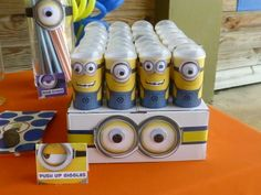 Decorated push up pops at a Minions Birthday Party!  See more party ideas at CatchMyParty.com!  #partyideas #minion