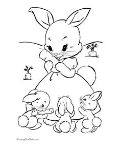 Cute Bunny Rabbit Coloring Pages Funny Black And White Unny