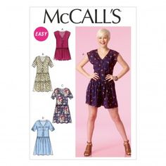 McCalls Ladies Easy Sewing Pattern 7115 Romper Jumpsuit & Dresses | Sewing | Patterns | Minerva Crafts