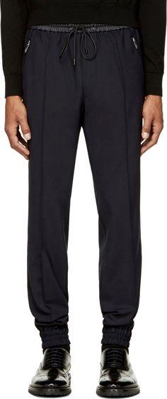 Juun.J: Navy Wool & Black Leather Trousers   SSENSE